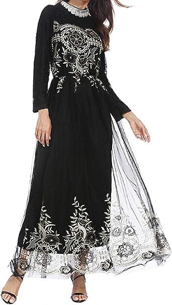 Vestidos Largos Ropa de Mujer Cordón Musulmán Boda Túnica Maxi ...