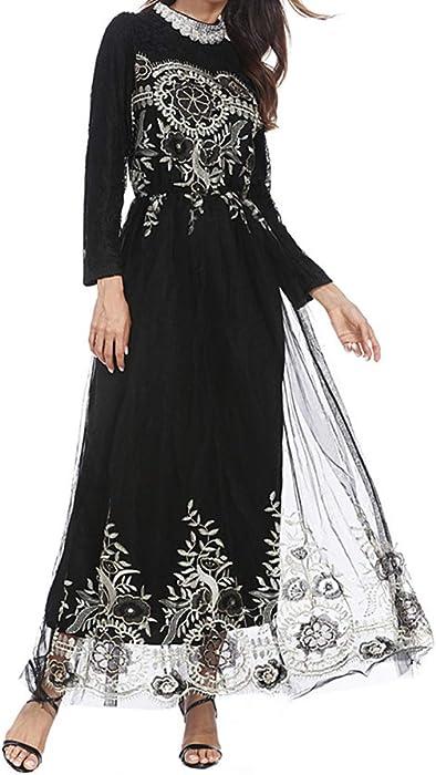 Vestiti Lunghi Abbigliamento da Donna Pizzo Musulmano Abito da Sposa Maxi  Gonna Chiffon Abiti Arabo Indumento 7be2c26eddf