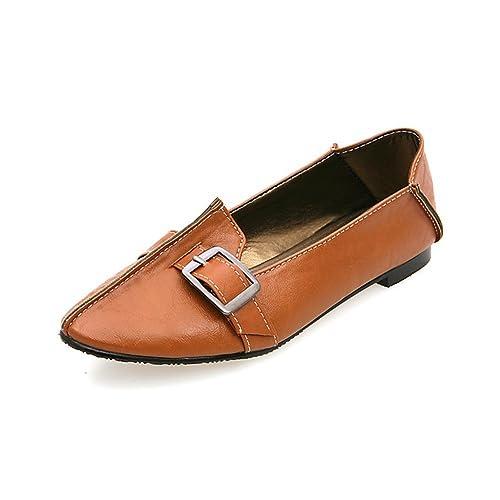 Zapatos Individuales para Mujeres Fondo Plano Puntiagudos Boca Baja Mocasines de Tacón bajo de Gran Tamaño: Amazon.es: Zapatos y complementos