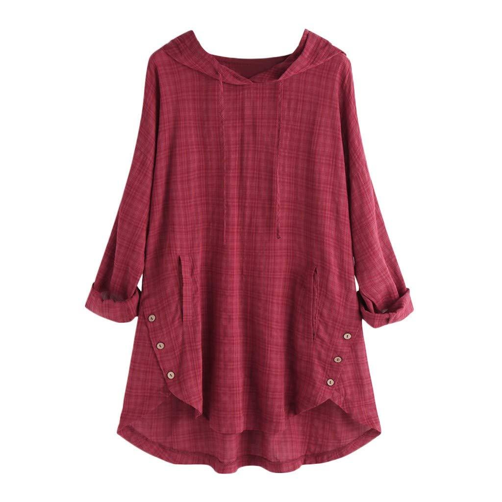 Farmerl Plus Size Women Cotton Linen Button Top Kaftan Baggy Casual Tunic Blouse by Farmerl
