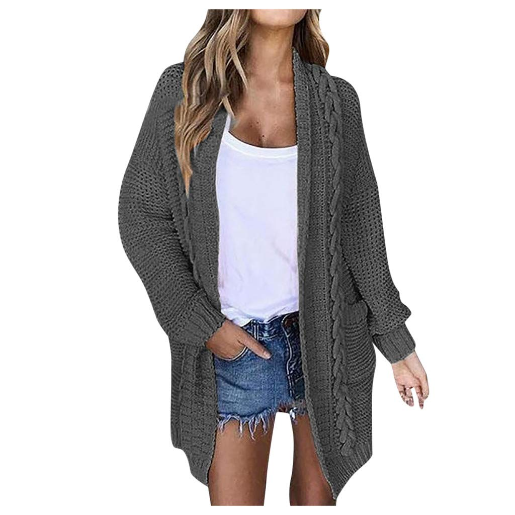 FEDULK Womens Knit Cardigan Sweater Open Front Slouchy Oversized Wrap Fashion Casual Coat Tops (Gray, XXX-Large) by FEDULK