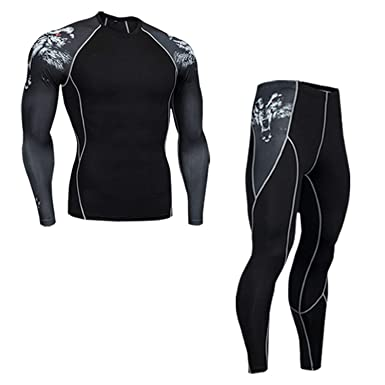 Evan Fordd 2 Piece Tracksuit Men Compression Suit Thermal Underwear Base  Layer Teen Fitness sets1 S d12ffe554555
