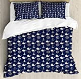 Ambesonne Navy Blue Duvet Cover Set Queen Size, Maritime Pattern with Whales Helms Anchors Nautical Elements Deep Sea Life, Decorative 3 Piece Bedding Set with 2 Pillow Shams, Navy Blue White