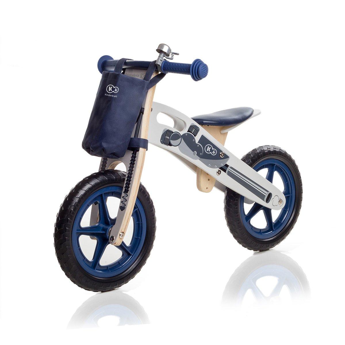 KinderKraft Niños Fuerza Runner Bicicleta de Madera sin Pedales con Campana de Bolsa y de 2 Colores 5902021219841