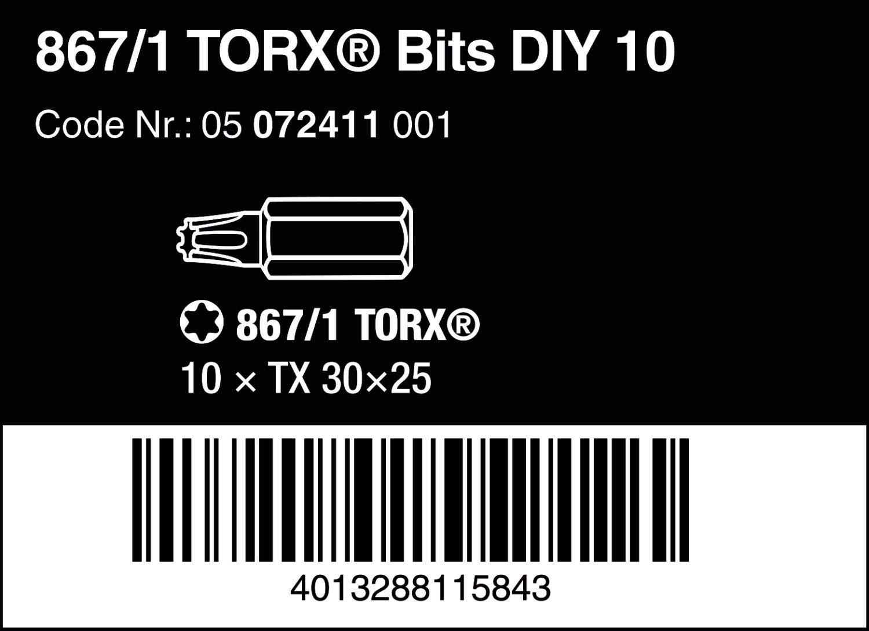 Import Allemagne Wera 05072411001 Coffret dembouts Torx 867//1 Z TX 30
