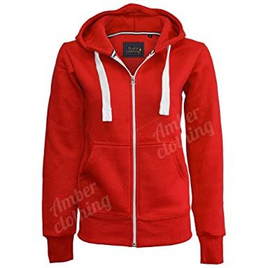 Ladies New Plain Casual Long Sleeve Pocket Hoody Top Womens Fixed Hood  Stretch Front Zip Contrast Drawstring Detail Basic Hooded Jacket WOMENS  PLAIN HOODIE ... c10ea86f74