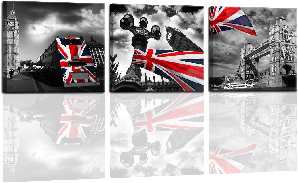 Black and White Canvas Wall Art Paintings Prints Decor Big Ben, London Bridge, UK 3 Pcs Pictures Framed Artwork Ready to Hang For Home Family Living Room Kitchen Bedroom Dining Room Office Bar