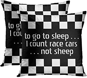 Emvency Throw Pillow Cover Car Cool Black White Formula Checkered Pattern Motorsport Decorative Pillow Case Home Decor Set of 2 Square 18 x 18 inch Pillowcase