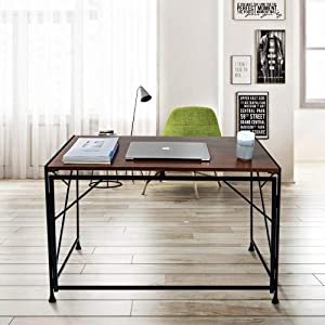 """SINKCOL Folding Desk, 40"""" Computer Desk with Modern Design Study Foldable Desk for Small Spaces, No Assembly Needed Home Office Desk with Sturdy Metal Frame, Thick Wooden Desk"""