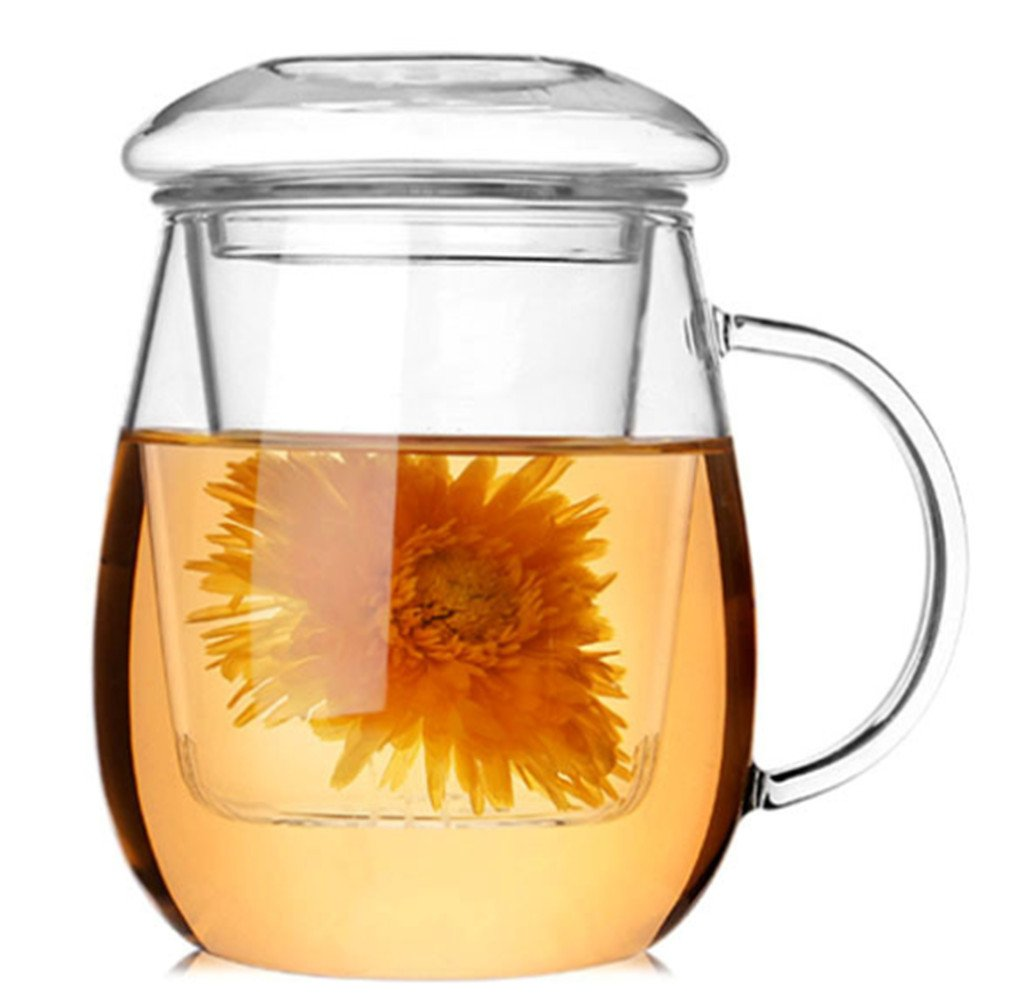 Amao 10oz Glass Brewing Tea Cup Loose Leaf Flower Teapot with Infuser Strainer