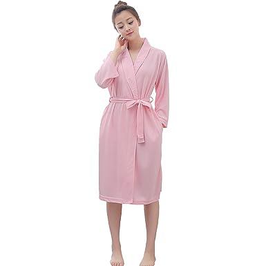 878da493c7 Vraquir Womens Waffle Bathrobe 3 4 Long Sleeves Kimono Lightweight Pajamas  Loungewear Summer Hotel Spa