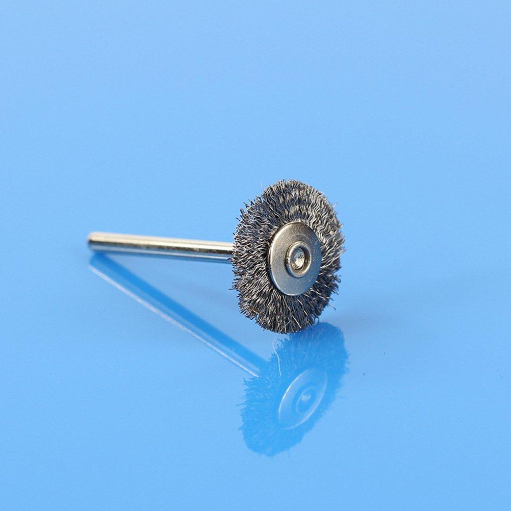 OUNONA 10 Pezzi in acciaio INOX filo ruota spazzola Spazzola morbida in filo di acciaio inossidabile Set di ruote abrasive per pulizia lucidatura utensile rotante utensili Dremel Grinder Rotary