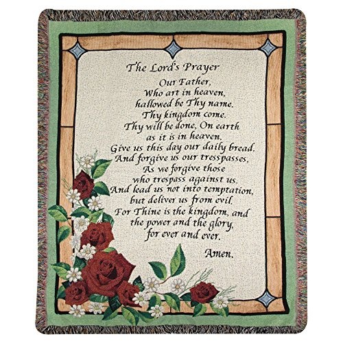 Manual Woodworkers and Weavers the Lord's Prayer Stained Glass Tapestry Throw (ATTLPG)