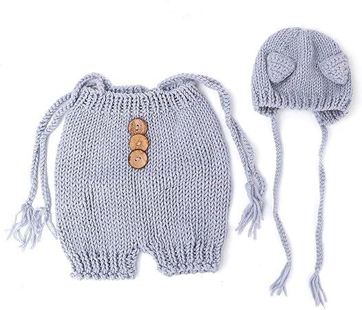 0-6 mesi Baby Photography Puntelli Costume da pompiere con cappelli Pantaloni Outfit Costumi da neonato lavorati a maglia alluncinetto