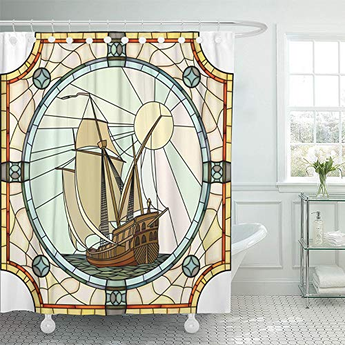 Emvency Shower Curtain Set Waterproof Adjustable Polyester Fabric Mosaic with Large Cells of Sailing Ships The 17Th Century in Round Stained 60 x 72 Inches Set with Hooks for Bathroom -