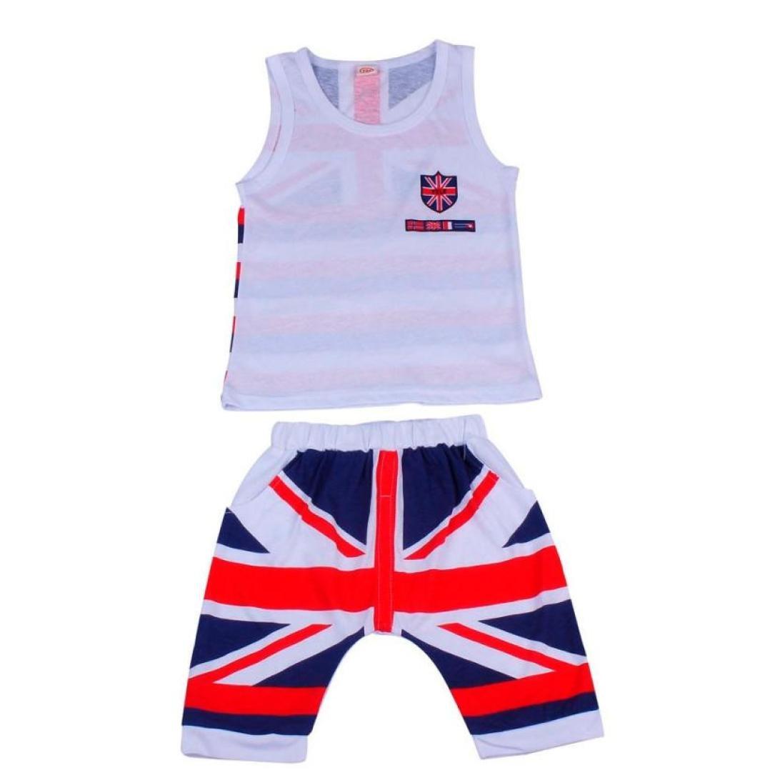 squarex Kids Baby Boys Union Jack Outfits Vest Tops Pants Set Clothes
