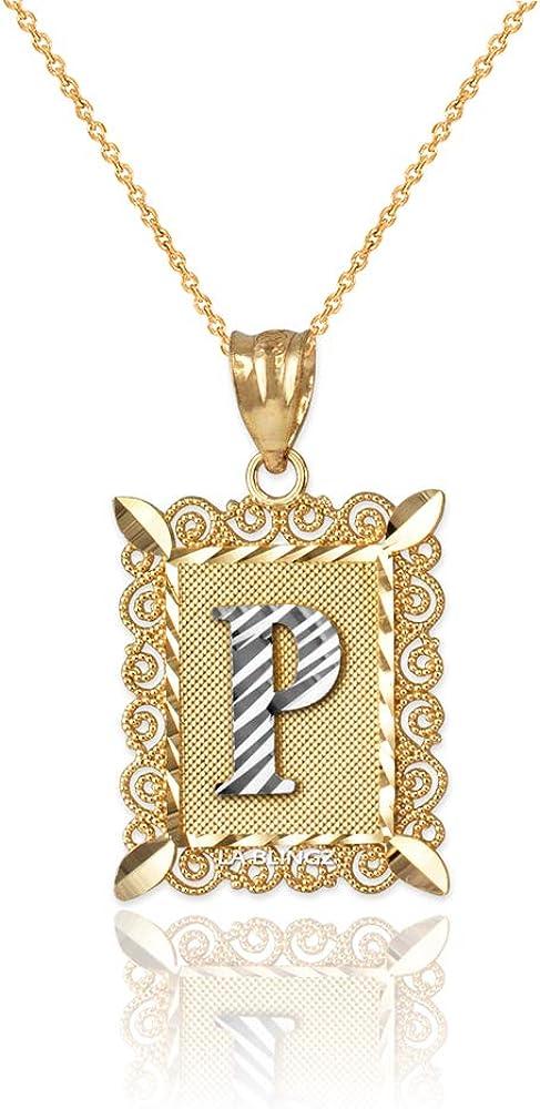 LA BLINGZ 10K White Gold Nugget Initial Letter R Necklace