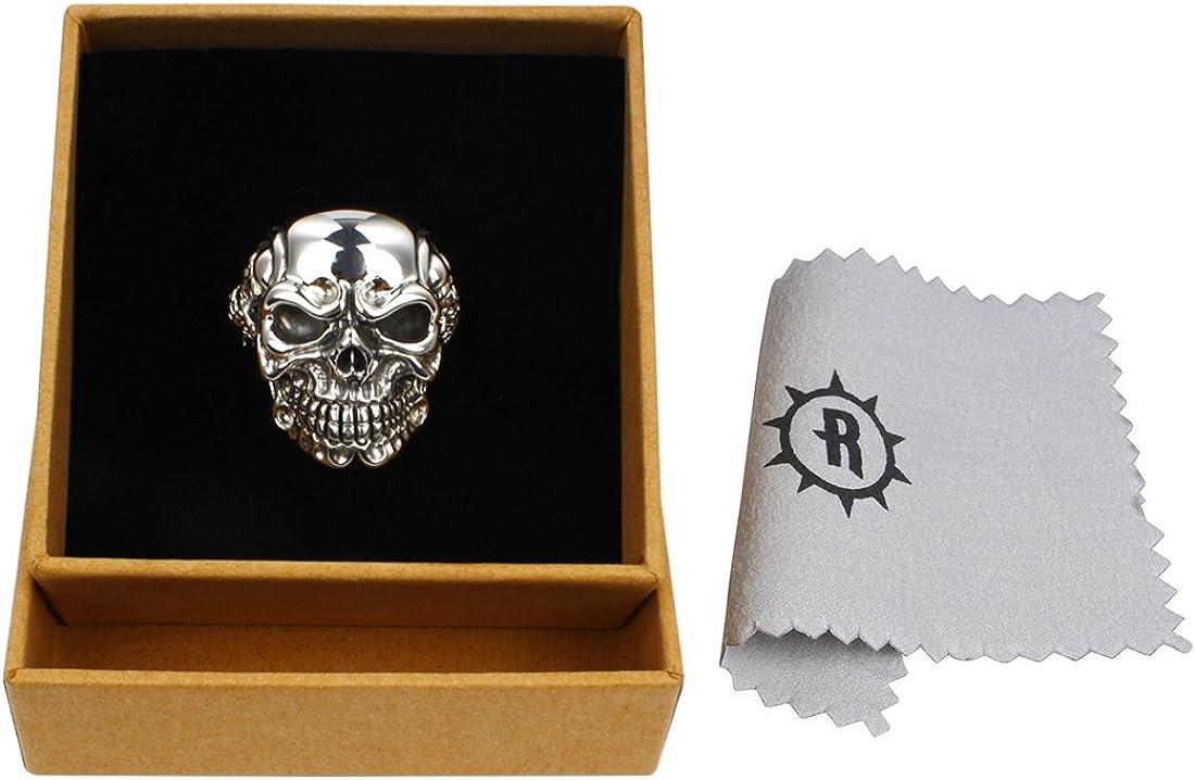 Rock/&Ride Bague Vintage en argent sterling 925 Bague gothique t/ête de mort