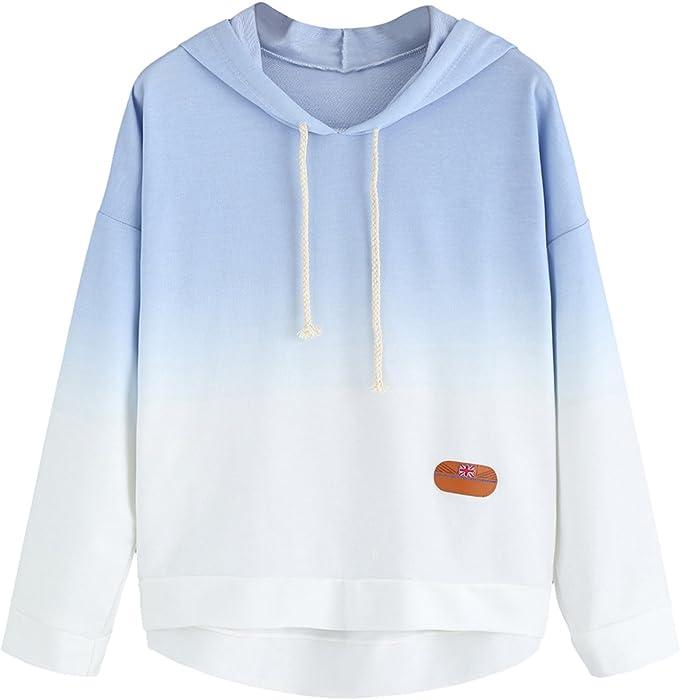 fb6352042379 SweatyRocks Women s Long Sleeve Hoodie Sweatshirt Colorblock Tie Dye Print  Tops Blue Ombre XS