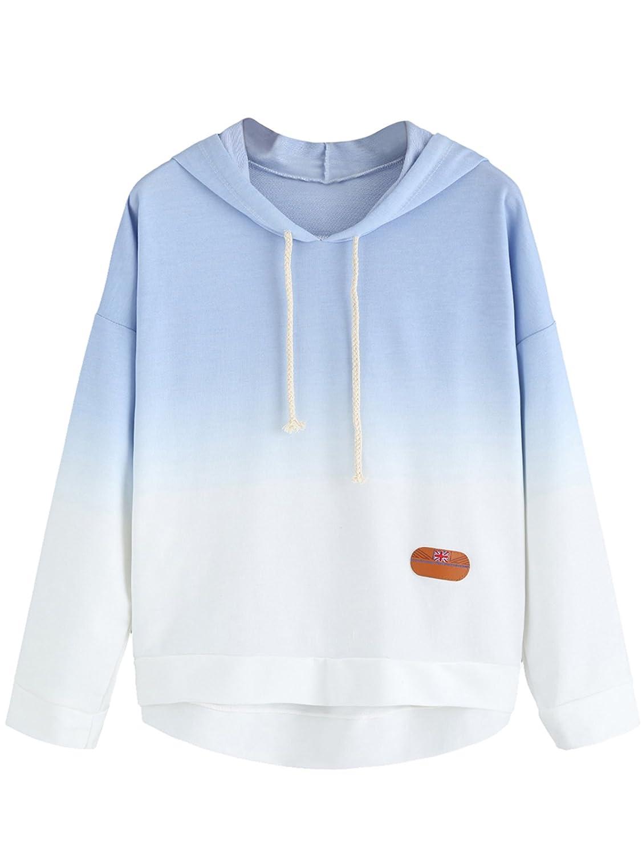 SweatyRocks Women's Sweatshirt Pullover Hoodie Cotton Shirt Blue ...