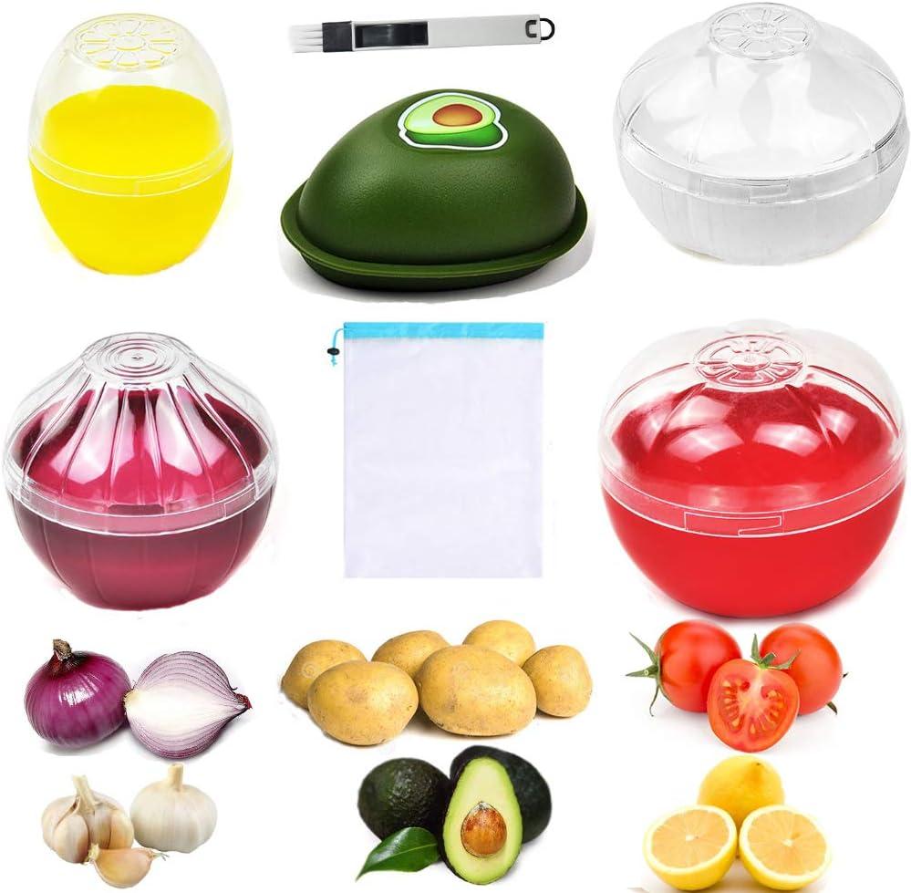Onion Garlic Lemon Avocado Tomato Saver/Keeper and Potato Storage Bag, Yamesu BPA Free Vegetable Shaped Food Holder/Container and See-Through Mesh Potatoes Keeper Bag, 6-piece Set Bundle with a Brush