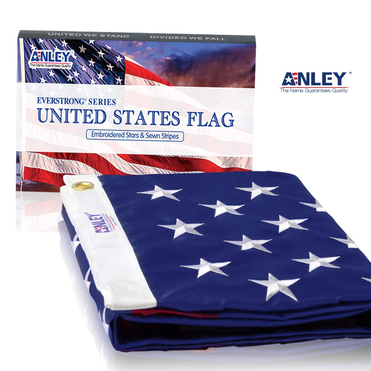 USA Banner Flags with Brass Grommets 5 X 8 Ft Embroidered Stars and Sewn Stripes Anley EverStrong Series American US Flag 5x8 Foot Heavy Duty Nylon 4 Rows of Lock Stitching