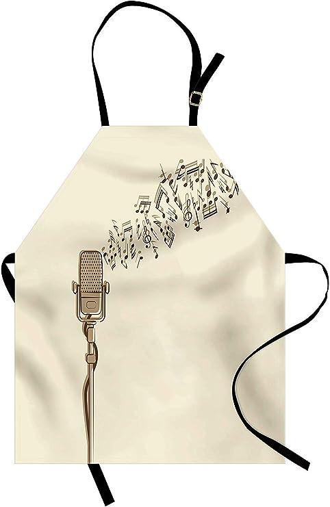 Delantal de micrófono, estilo retro con estilo dibujado a mano con ...