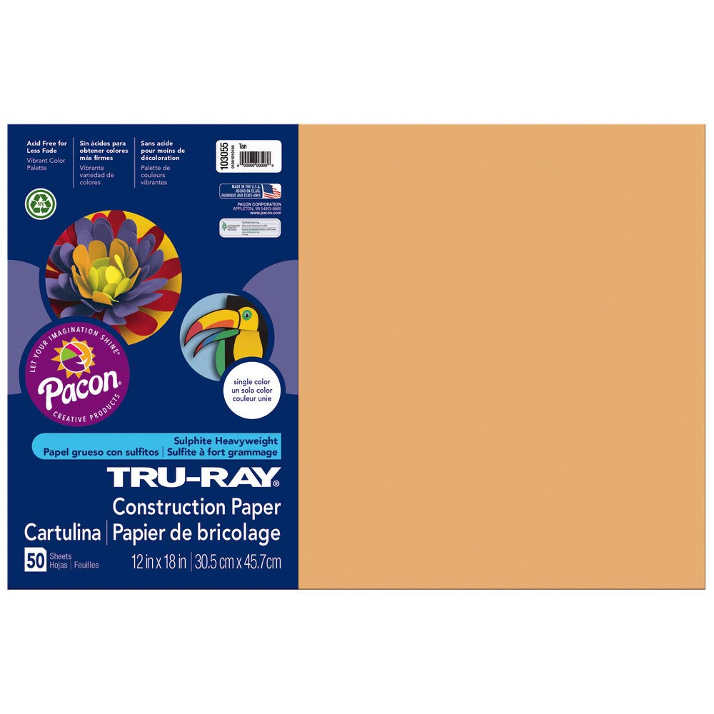 Pacon Tru-Ray Construction Paper, 12-Inches by 18-Inches, 50-Count, Tan (103055) Pacon Corp. 103055EA