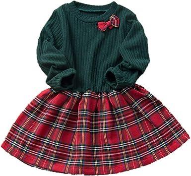 Kuriozud Toddler Baby Girl Plaid Dress Party Dress