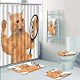 5-piece Bathroom Set-Includes Shower Curtain Liner,A Cat Looking into the Mirror and Seeing a Reflection Print Bathroom Rugs Shower Curtain/Bath Towls Sets(Medium size)