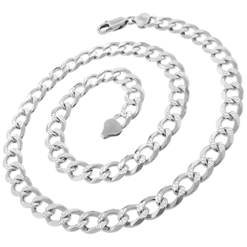 Authentic Solid Sterling Silver 8.5mm Cuban Curb Link Diamond-Cut Pave .925 ITProLux Necklace Chain 20-30 Made In Italy