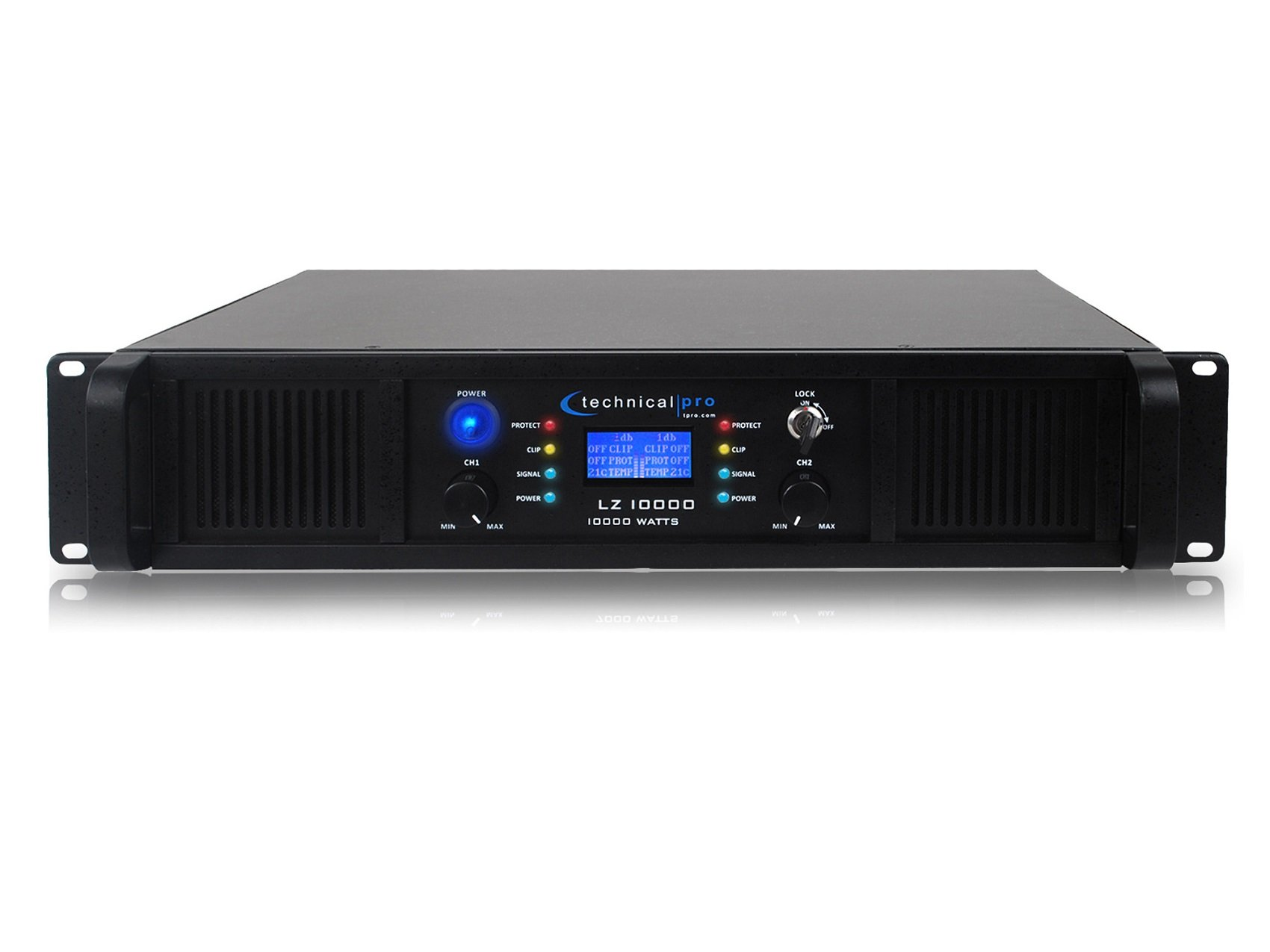 Technical Pro LZ10K Professional 10,000 Watt 2-Channel Amplifier With LCD Display and Key Lock by Technical Pro