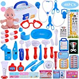 TEMI Doctor Medical Kit, 40 PCS Pretend Play Set w/ Doll n Carrying Case, Light Up Electronic Stethoscope Dentist Nurse Toys Educational Learning Role Play Gifts for Kids, Toddlers, Boys & Girls, Blue
