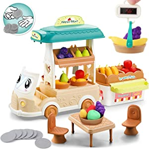 BeebeeRun Food Truck for Kids - 61PCS Play Food Toy for Toddler, Pretend Play Fruit Selling Car with Apple, Pear, Crane Scale, Coins,Gift for 3 4 5 Year Old Girls & Boys