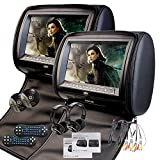 EinCar Black 2 X Twin Car headrest DVD player 9 inch HD Touch Screen with FM 32 Bits Games MP3 Pair of monitors Dual Screen Pillows with IR Headphones