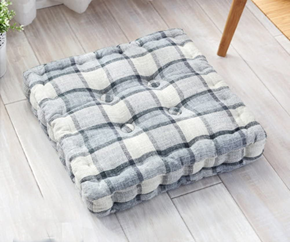 TMJJ Cotton Linen Dining/Office Chair Pads Square Plaid Floor Pillows Seat Cushions