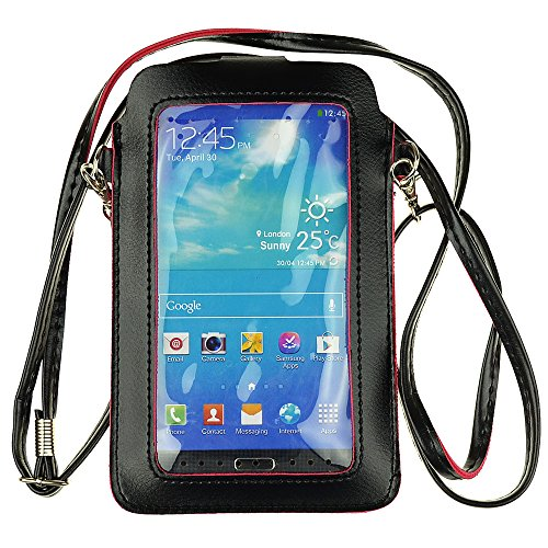 Crossbody Women Cellphone Purse PU Leather Wrist Clutch Bag Cash Pouch Wallet with Touch Screen View Window for iPhone 8 Plus/iPhone X/iPhone 7 Plus/Samsung Galaxy Note9 (Below 6.5 inch) ()