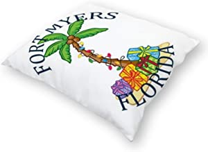 Flax Throw Pillow Cover Summer Fort Myers- Florida 18x18 Inches Pillowcase Home Decor Square Cotton Linen Pillow Case Cushion Cover