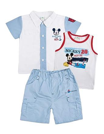 a8e933b9f2 Ensemble Short, T-Shirt et Chemise bébé garçon Mickey Bleu et Marine de 3 à  24mois: Amazon.fr: Vêtements et accessoires