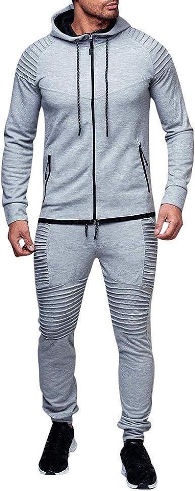 Homme Coupe Slim Survêtement Sportswear Jogging Pull Capuche Pantalon Suit M-3XL