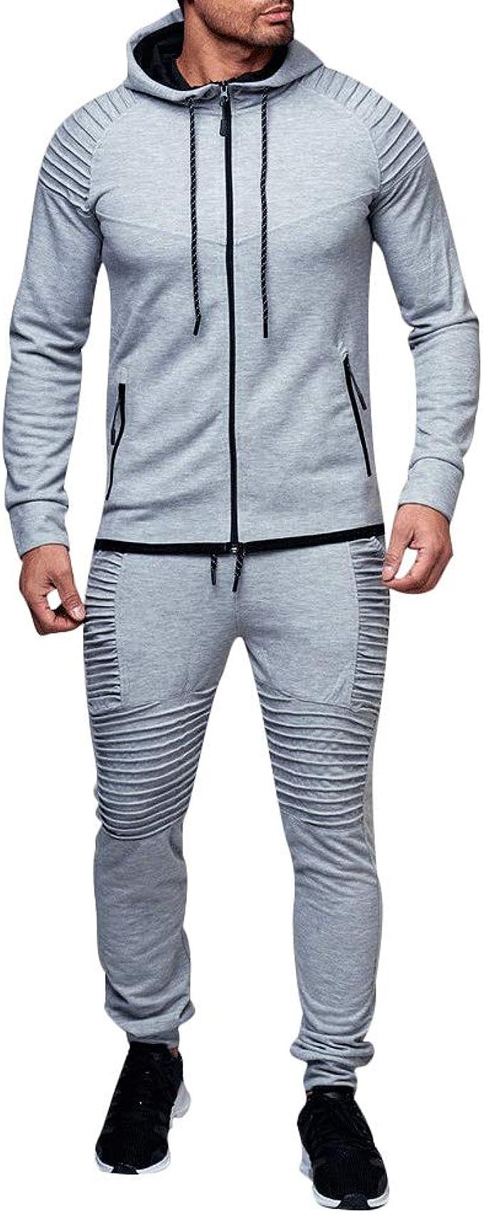 Conjunto de 2 piezas de chándal para hombre con camisetas + pantalones cortos, pantalones de gimnasio, con cremallera completa, sudadera deportiva con bolsillos: Amazon.es: Ropa y accesorios
