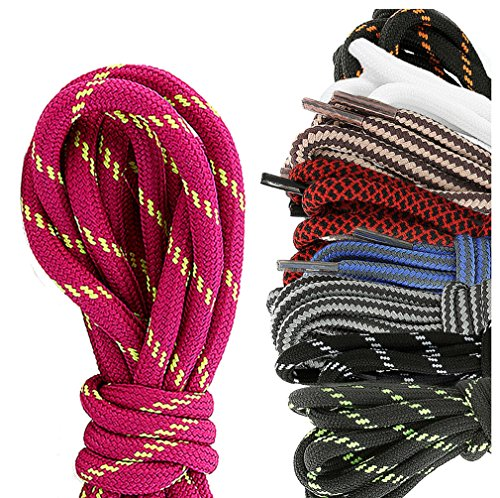 DailyShoes Round Hiking Boot Shoelaces Strong Durable Stylish Shoe Laces Dissemble Brittany , (Great for Bowling Shoes) Black Dark Grey 27″ inch (69 cm), (9 PAIRS PACK)
