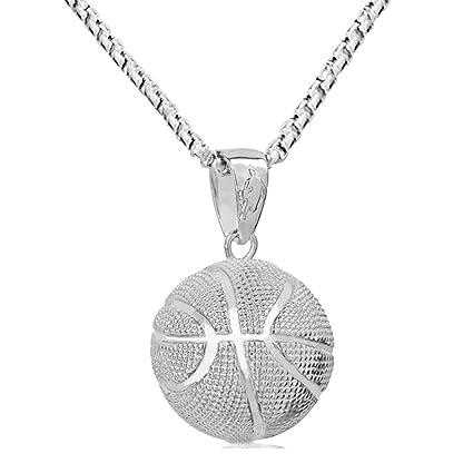 64b91281e08 Lorsoul Collier de Basket-Ball Amant Pendentif Ronde d or Collier en Argent  en
