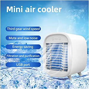 Minimalist Air Conditioner Portable - Personal Air Cooler, Usb Rechargeable Small Desk Fan, Portable Air Conditioner, 40db Super Quiet Air Cooling Fan for Home Office Bedroom Car (White)