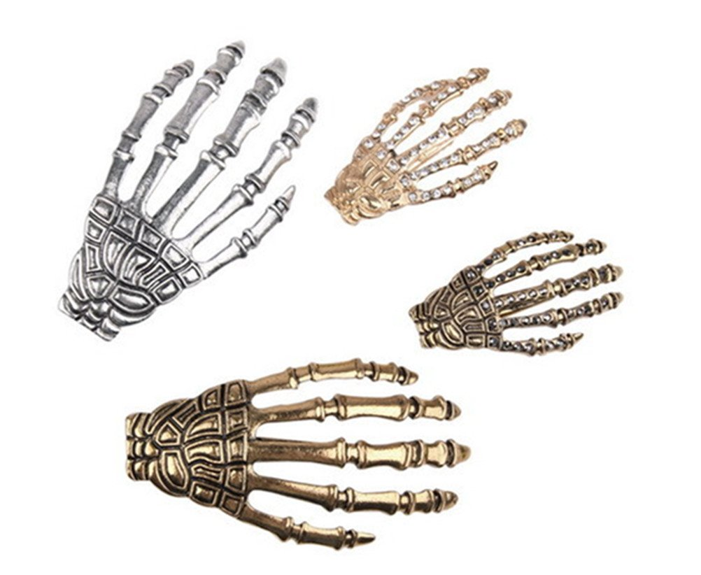 Cuhair 4pcs Fashion Metal Crystal Rhinestone Hair Accessories Skeleton Claws Skull Hand Hair Clip Hairpin Zombie Punk Horror Bobby Claw Barrette For Women Girl cutrade