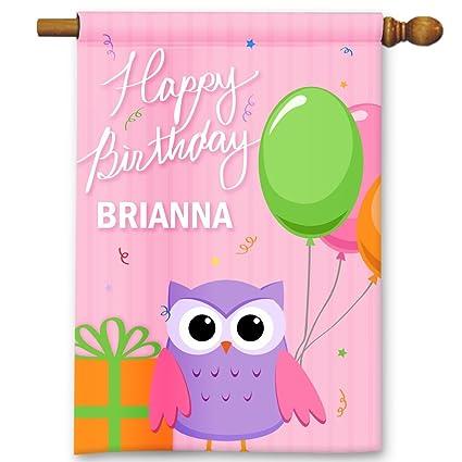 Amazon.com: Lindo búho rosa feliz cumpleaños personalizada ...