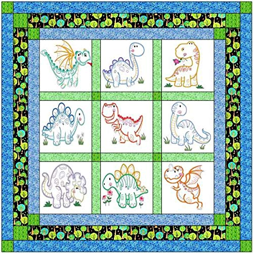Quilt Kit Dinosaur Jungle/Pre Cut Ready to Sew/Finished Embroidery by Material Maven
