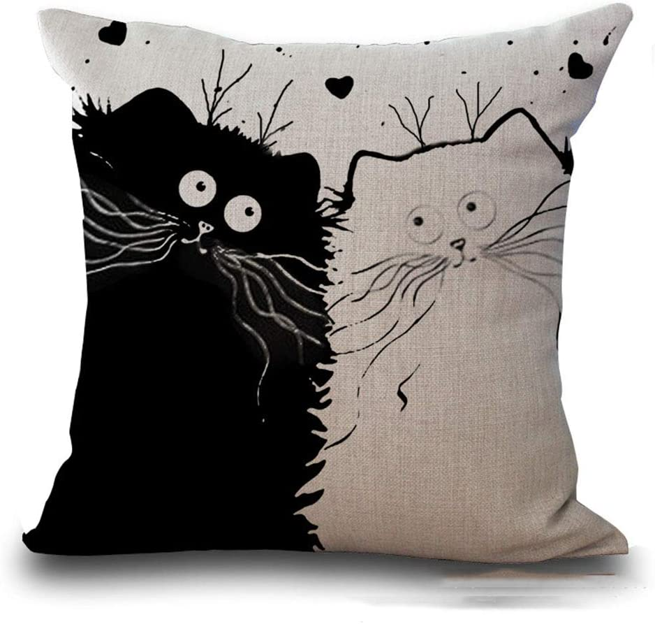 Axgo Throw Pillow Case with Cat Cartoon Printed Cotton Linen Square Standard Cushion Covers for Sofa Couch Bed 18x18 inch StyleC