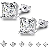 Anni Coco 18K Gold Plated Stainless Steel Needle Princess Cut Clear Black CZ Stud Earrings Set, 3mm-8mm 6 Pairs