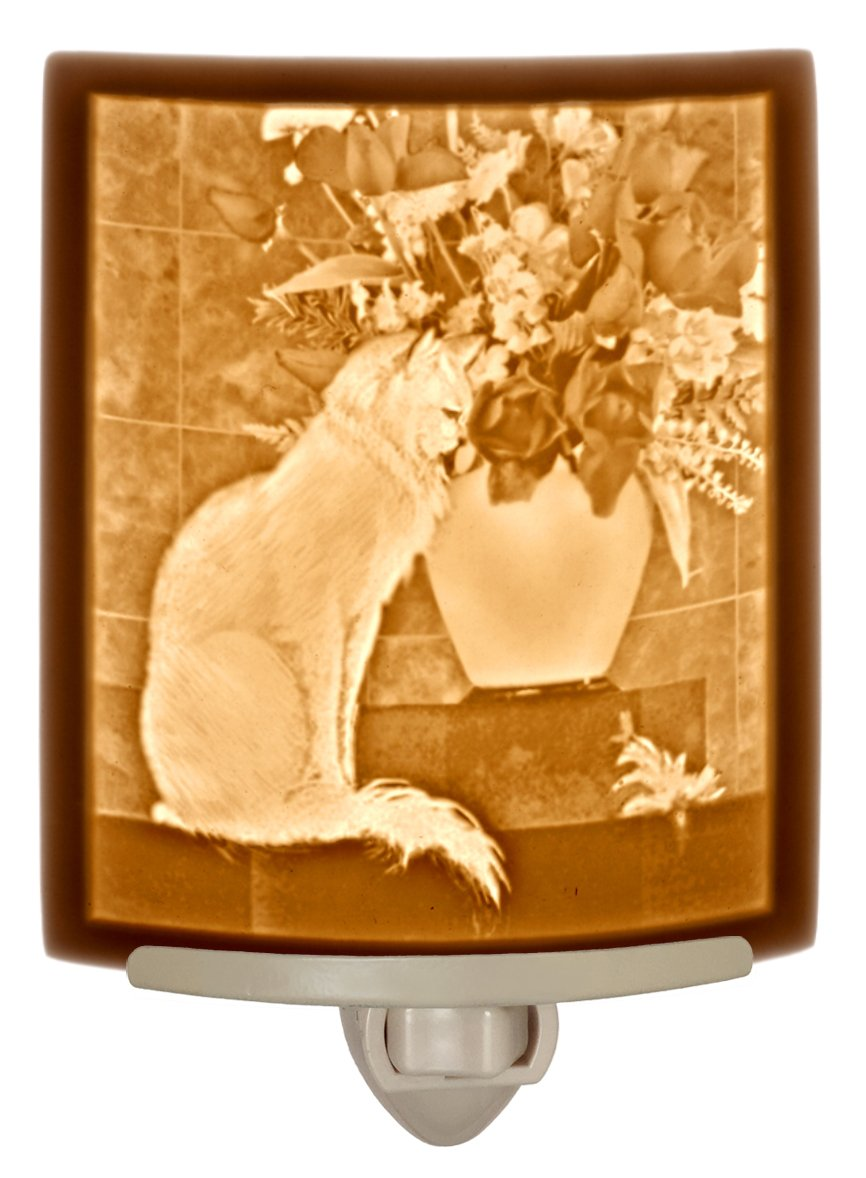 '' Cat with Flowers '' - Fine Porcelain Lithophane Curved Night Light